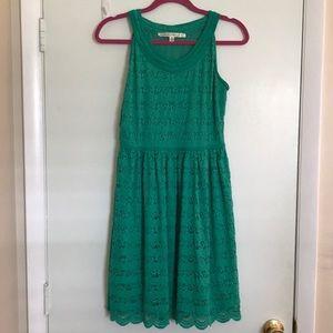Max Studio: green crochet dress